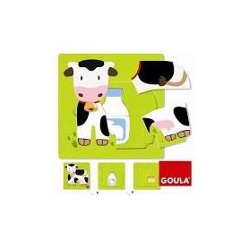 Puzzle 3 niveaux vache Goula